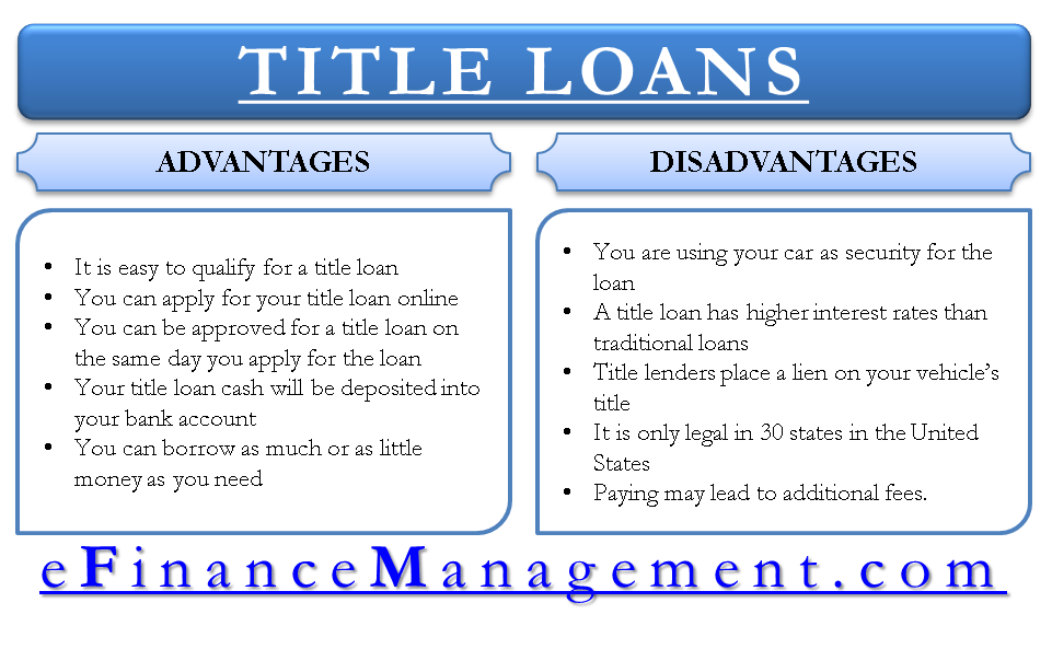 Advantages and Disadvantages of Title Loans