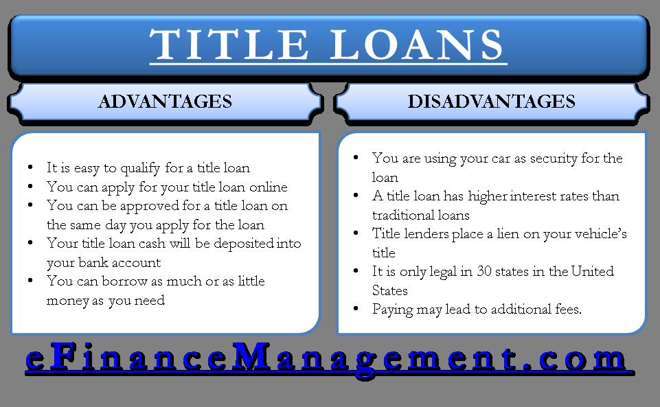 Advantages And Disadvantages Of Title Loans Efinancemanagement Com