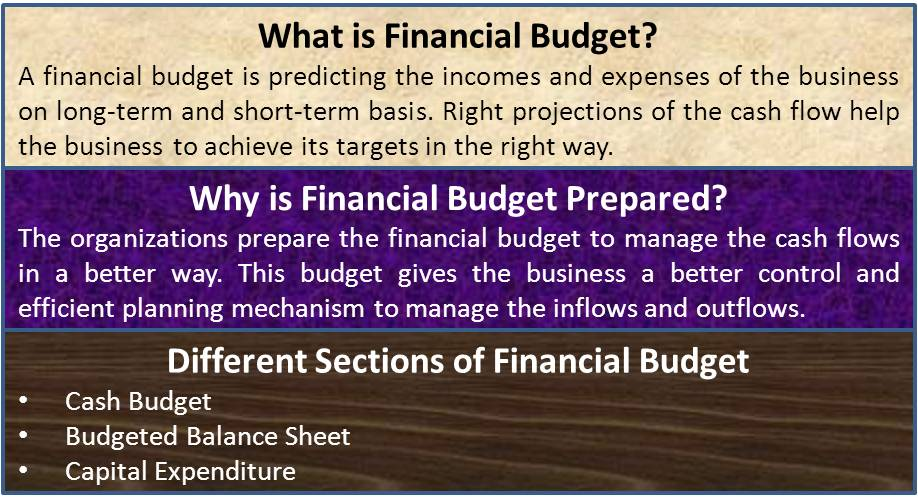 What is financial budget how to plan various sections in it efm financial budget malvernweather Gallery