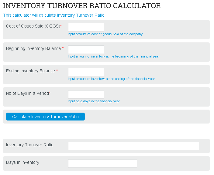 Inventory Turnover Ratio Calculator