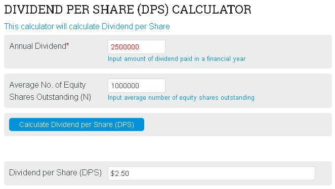Dividend Per Share Calculator