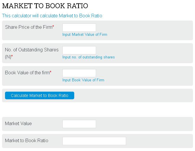 Market to Book Value Calculator